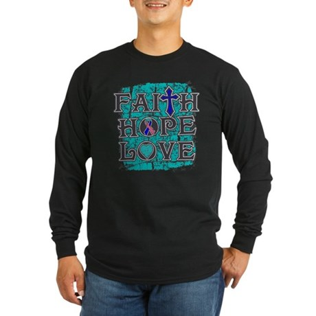 Thyroid Cancer Faith Hope Love Long Sleeve Dark T-