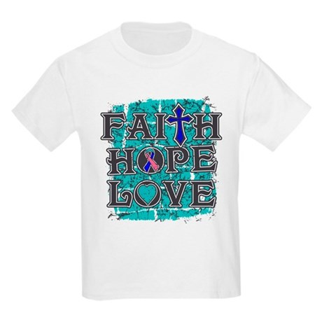 Thyroid Cancer Faith Hope Love Kids Light T-Shirt