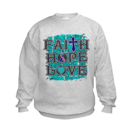 Thyroid Cancer Faith Hope Love Kids Sweatshirt