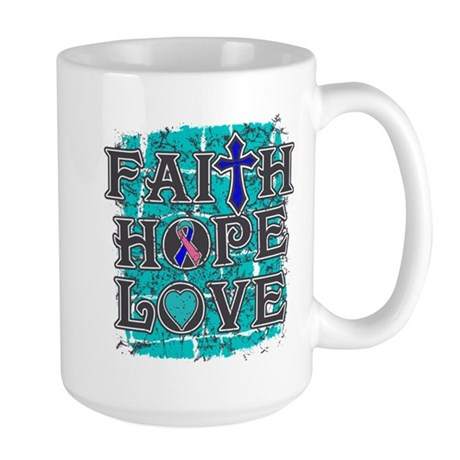 Thyroid Cancer Faith Hope Love Large Mug