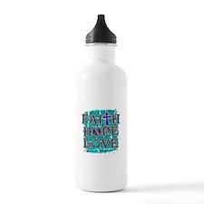 Thyroid Cancer Faith Hope Love Water Bottle