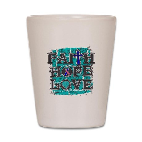 Thyroid Cancer Faith Hope Love Shot Glass