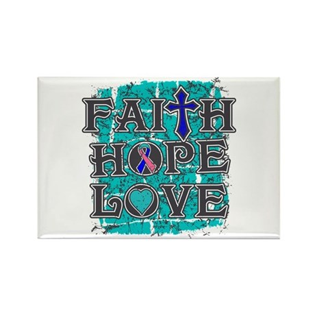Thyroid Cancer Faith Hope Love Rectangle Magnet