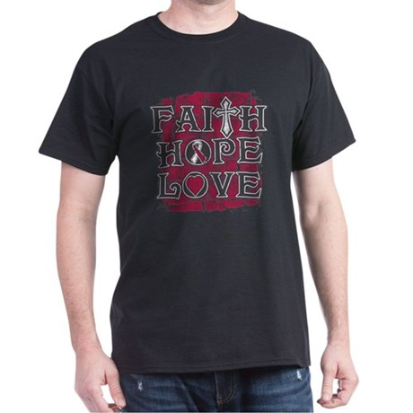 Throat Cancer Faith Hope Love Dark T-Shirt