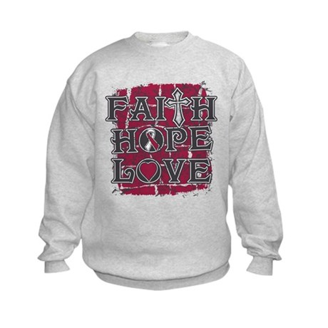 Throat Cancer Faith Hope Love Kids Sweatshirt