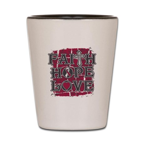 Throat Cancer Faith Hope Love Shot Glass
