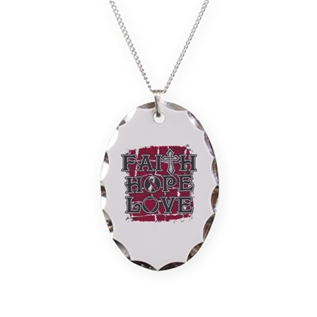 Throat Cancer Faith Hope Love Necklace Oval Charm