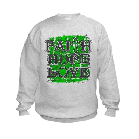 Testicular Cancer Faith Hope Love Kids Sweatshirt
