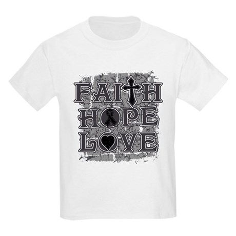 Skin Cancer Faith Hope Love Kids Light T-Shirt