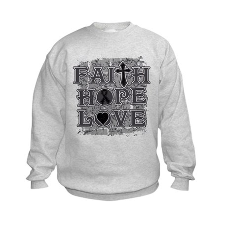 Skin Cancer Faith Hope Love Kids Sweatshirt