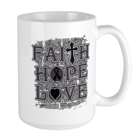 Skin Cancer Faith Hope Love Large Mug