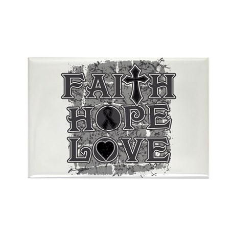 Skin Cancer Faith Hope Love Rectangle Magnet