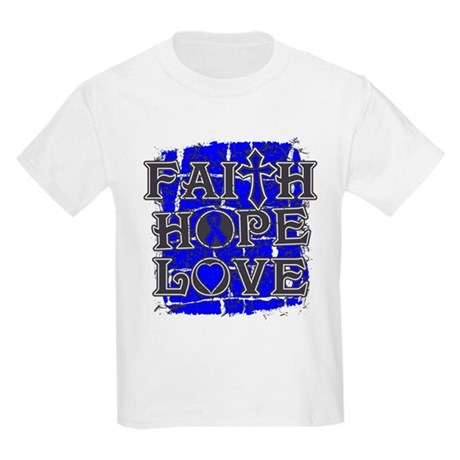 Rectal Cancer Faith Hope Love Kids Light T-Shirt