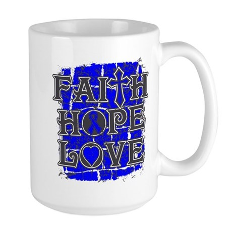 Rectal Cancer Faith Hope Love Large Mug