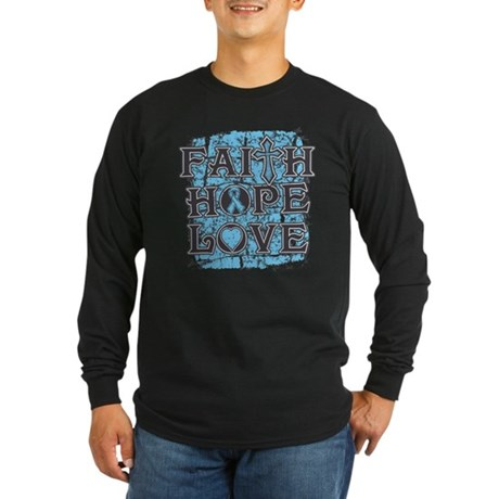 Prostate Cancer Faith Hope Love Long Sleeve Dark T