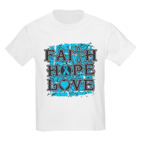 Prostate Cancer Faith Hope Love Kids Light T-Shirt