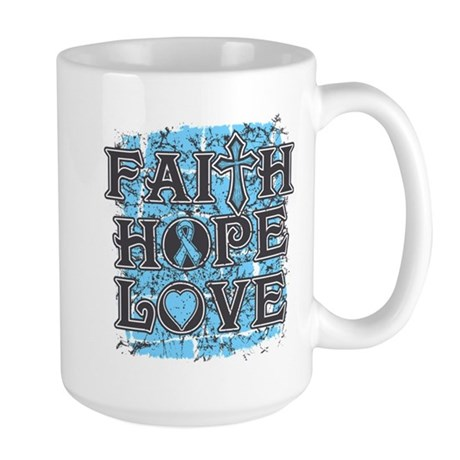 Prostate Cancer Faith Hope Love Large Mug