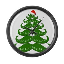 Mustache Christmas Tree with Sant Large Wall Clock