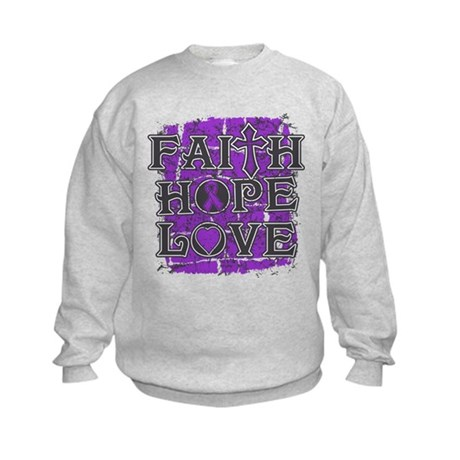 Pancreatic Cancer Faith Hope Love Kids Sweatshirt
