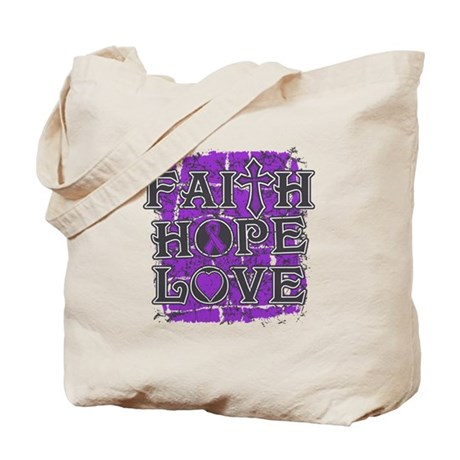Pancreatic Cancer Faith Hope Love Tote Bag