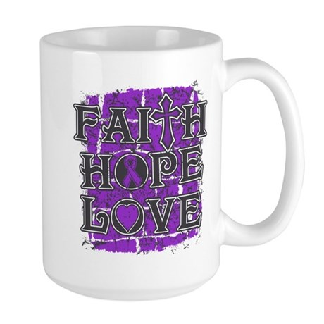 Pancreatic Cancer Faith Hope Love Large Mug