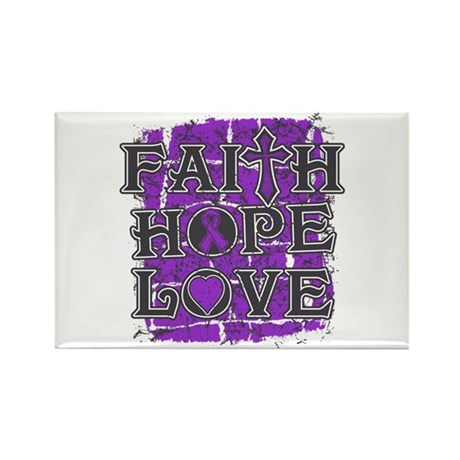 Pancreatic Cancer Faith Hope Love Rectangle Magnet