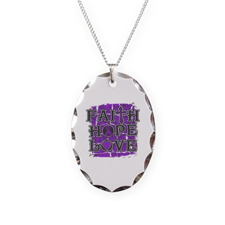Pancreatic Cancer Faith Hope Love Necklace Oval Ch