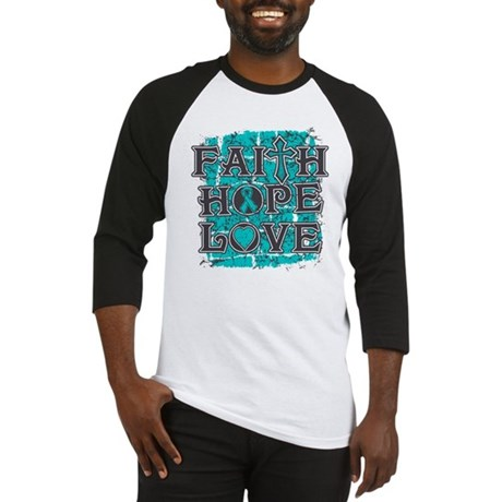 Ovarian Cancer Faith Hope Love Baseball Jersey