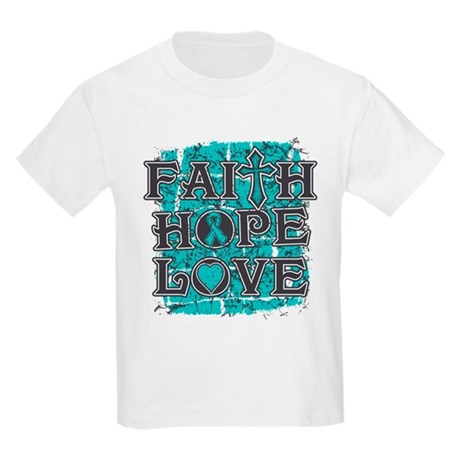 Ovarian Cancer Faith Hope Love Kids Light T-Shirt