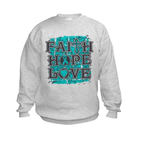 Ovarian Cancer Faith Hope Love Kids Sweatshirt