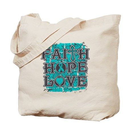 Ovarian Cancer Faith Hope Love Tote Bag