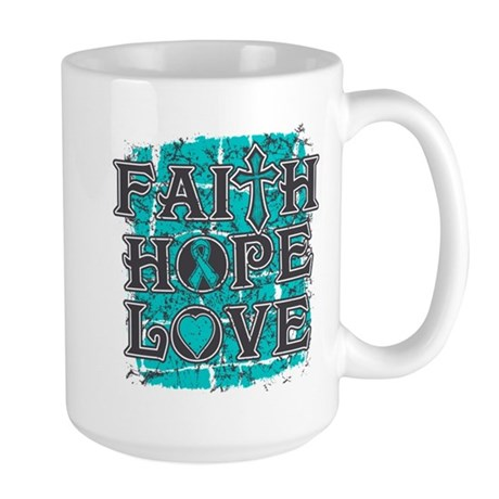 Ovarian Cancer Faith Hope Love Large Mug