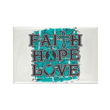 Ovarian Cancer Faith Hope Love Rectangle Magnet