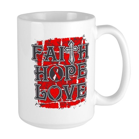 Oral Cancer Faith Hope Love Large Mug
