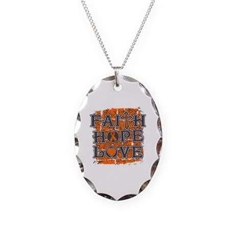 Multiple Sclerosis Faith Hope Love Necklace Oval C