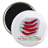 "Chili Peppers Make Me Happy 2.25"" Magnet (10 pack)"