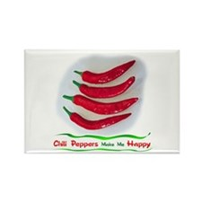 Chili Peppers Make Me Happy Rectangle Magnet (10 p