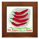 Chili Peppers Make Me Happy Framed Tile