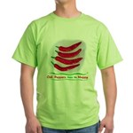 Chili Peppers Make Me Happy Green T-Shirt