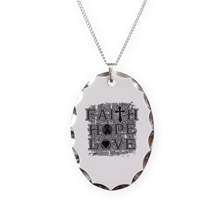 Melanoma Faith Hope Love Necklace Oval Charm