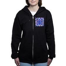 Blue Quilt Watercolor Zip Hoodie