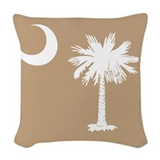 SC Palmetto Moon State Flag Tan Woven Throw Pillow
