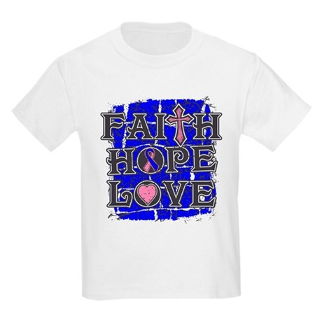 Male Breast Cancer Faith Hope Love Kids Light T-Sh