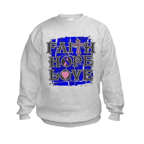 Male Breast Cancer Faith Hope Love Kids Sweatshirt