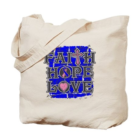 Male Breast Cancer Faith Hope Love Tote Bag