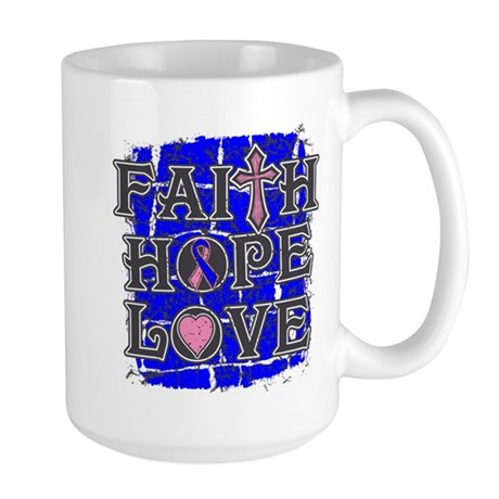 Male Breast Cancer Faith Hope Love Large Mug