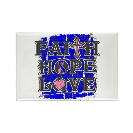 Male Breast Cancer Faith Hope Love Rectangle Magne