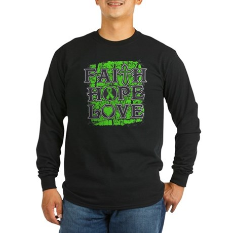 Lymphoma Faith Hope Love Long Sleeve Dark T-Shirt