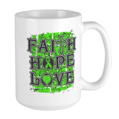 Lymphoma Faith Hope Love Large Mug