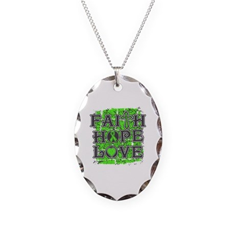 Lymphoma Faith Hope Love Necklace Oval Charm